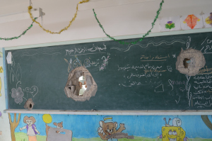 Classroom in Gaza, August 2014 Photo by: Yousef Alejla