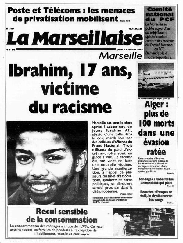 22/02/2016 - Il y a 21 ans, Ibrahim Ali était tué par des militants du FN
